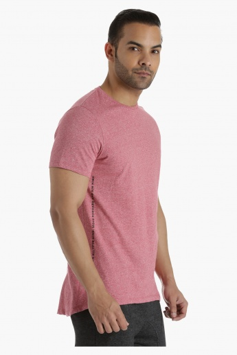 Cotton Crew Neck T-Shirt with Long Back and U Hem in Regular Fit