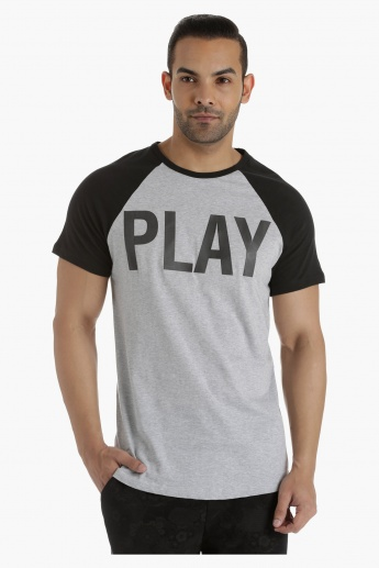 Cotton Printed T-Shirt with Contrast Raglan Sleeves in Regular Fit