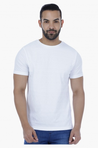 Textured Cotton T-Shirt with Crew Neck