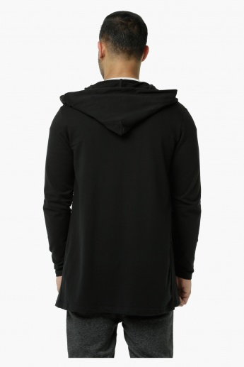 Hooded Sweater with Open Front