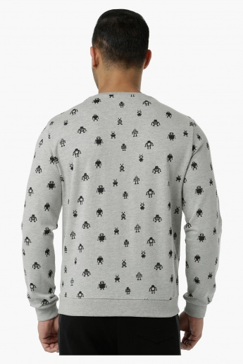 Printed Crew Neck Sweat Shirt with Long Sleeves