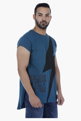 T-Shirt with Cap Sleeves and U-Back Hem