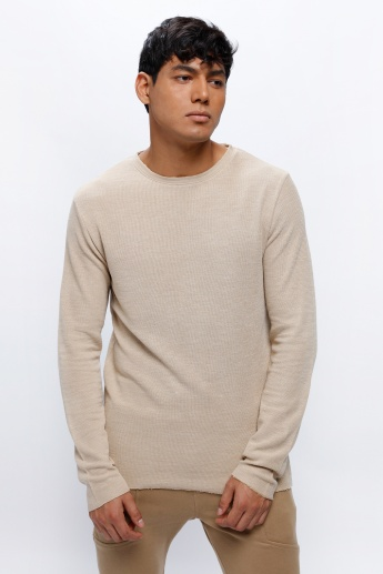 Textured Crew Neck T-Shirt with Long Sleeves