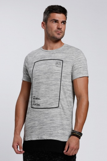 Printed Milange T-Shirt with Round Neck and Short Sleeves
