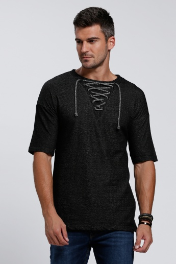 Lace Collar T-Shirt with Short Sleeves