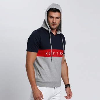 Printed Hooded T-Shirt with Short Sleeves