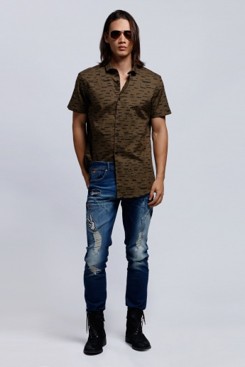 Eco Friendly Short Sleeves Shirt with Spread Collar