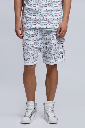 Eco Friendly Printed Knee Length Shorts with Elasticised Waistband