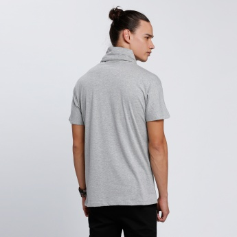 Printed T-Shirt with Turtle Neck and Short Sleeves