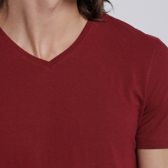 T-Shirt with V-Neck and Short Sleeves