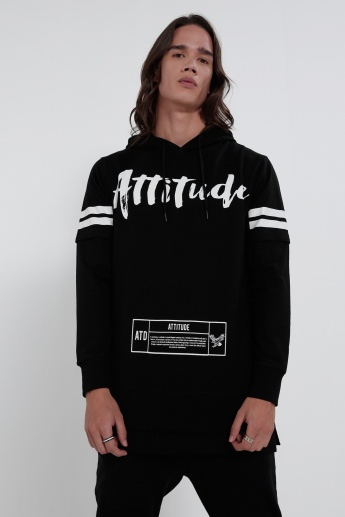 Printed Long Sleeves Sweatshirt with Hood