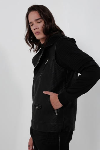Long Sleeves Biker Jacket with Zip Closure