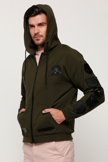 Long Sleeves Jacket with Hood and Zip Closure