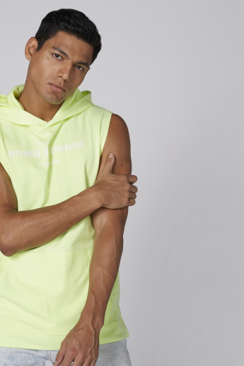 Sleevess T-Shirt with Pocket Detail and Hood