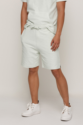 Textured Shorts with Elasticised Waistband and Drawstring