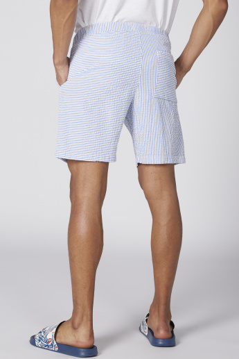Striped Shorts with Elasticised Waistband and Tie-Up Detail