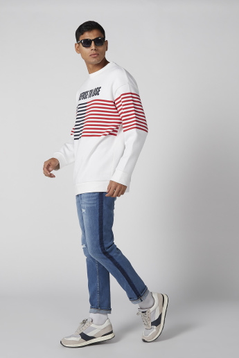 Striped Sweatshirt with Drop Shoulder Sleeves