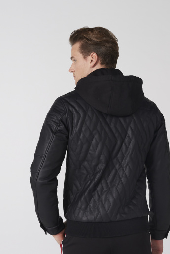 Quilted Long Sleeves Jacket with Hood and Zip Closure