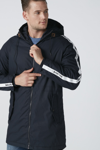 Tape Printed Longline Jacket with Hood and Pocket Detail