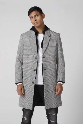 Chequered Longline Coat with Long Sleeves and Pocket Detail