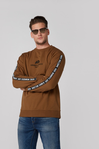 Printed Tape Detail Sweatshirt with Round Neck and Long Sleeves
