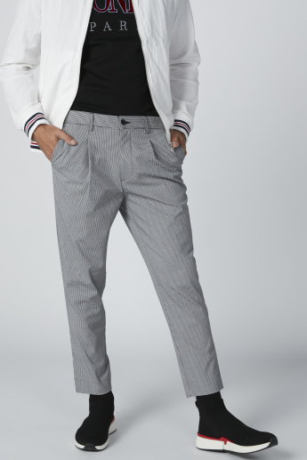 Chequered Trousers with Button Closure and Pocket Detail