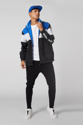 Long Sleeves Bomber Jacket with Printed Tape Detail