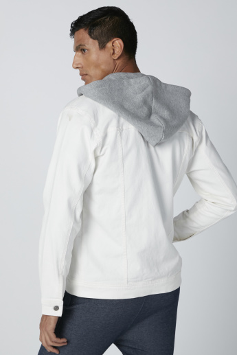Hooded Denim Jacket with Pocket Detail