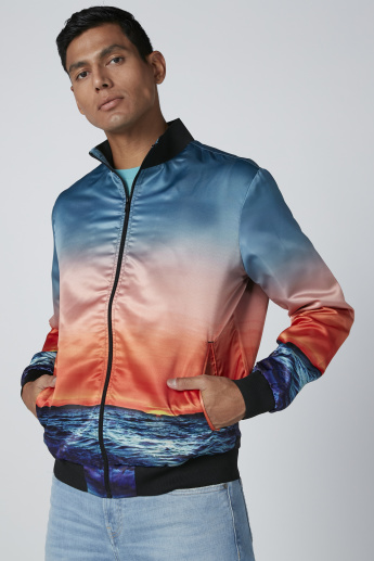 Printed Bomber Jacket with Kangaroo Pockets and Long Sleeves