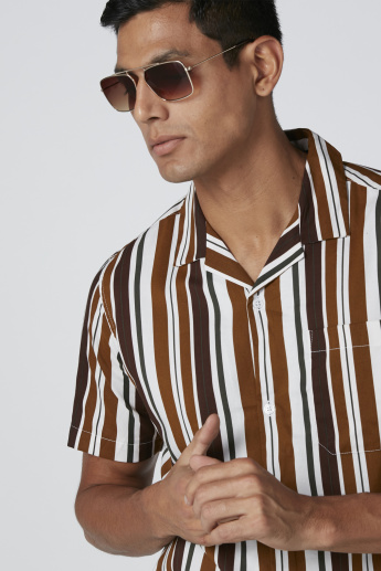 Striped Shirt with Short Sleeves and Pocket Detail