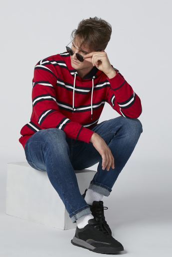 Striped Sweatshirt with Long Sleeves and Hood