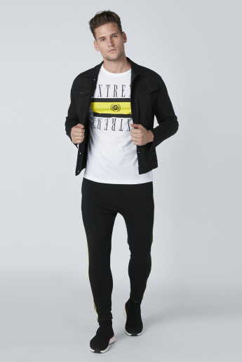 Text Printed Crew Neck T-Shirt with Short Sleeves