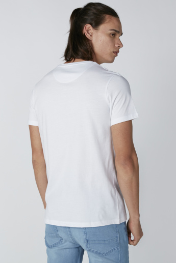 Printed T-Shirt in Regular Fit with Round Neck and Short Sleeves