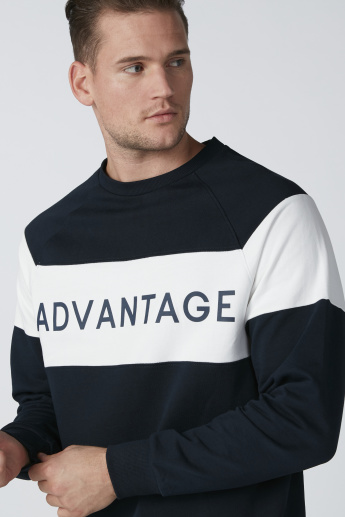 Text Printed Sweatshirt in Relaxed Fit with Long Sleeves