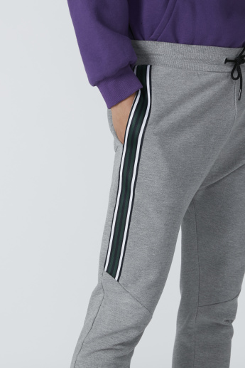 Tape Detail Jog Pants in Slim Fit with Drawstring