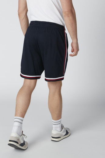 Tape and Pocket Detail Mid-Rise Shorts with Drawstring
