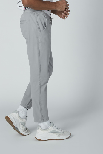 Plain Mid-Rise Trousers with Pocket Detail and Drawstring