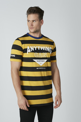 Striped T-shirt with Short Sleeves and Crew Neck