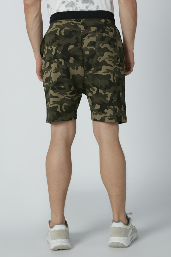 Camouflage Printed Shorts with Pocket Detail and Drawstring