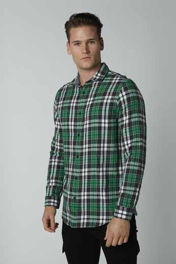 Chequered Shirt with Long Sleeves and Spread Collar