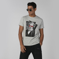 Sustainability Slim Fit Printed T-shirt with Crew Neck
