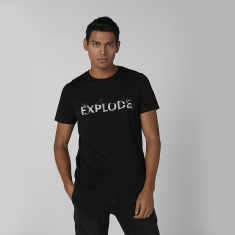 Sustainability Printed T-shirt in Slim-Fit with Crew Neck