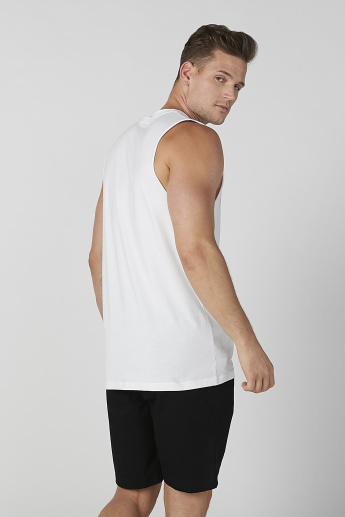 Sustainability Slim Fit Printed Sleeveless T-shirt with Round Neck