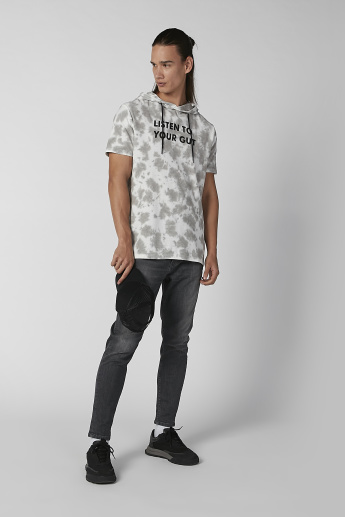Sustainability Slim Fit Printed T-shirt with Short Sleeves and Hood