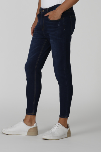 Skinny Fit Full Length Distressed Low Waist Jeans with Pocket Detail