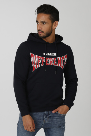 Sustainability Printed Sweatshirt with Long Sleeves and Hood