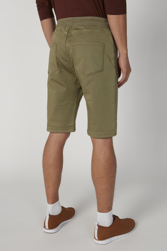 Skinny Fit Solid Low-Rise Shorts with Elasticated Waistband