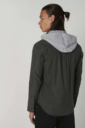 Plain Shirt with Long Sleeves and Hood