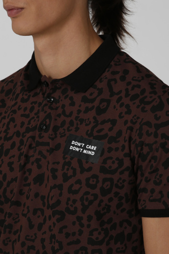 Animal Printed T-shirt with Polo Neck and Short Sleeves