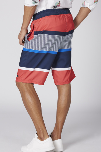 Striped Pocket Detail Shorts with Elasticised Waistband and Drawstring